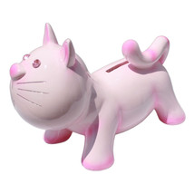 "7"" Jewel Eye Cat Money Coin Bank Pink - $19.78"