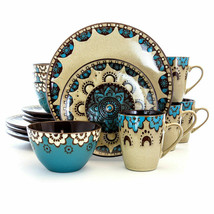 Elama Clay Heart 16 Piece Dinnerware Set in Tan and Blue by Elama - $74.20