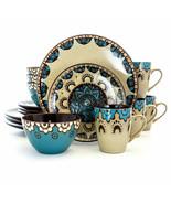 Elama Clay Heart 16 Piece Dinnerware Set in Tan and Blue by Elama - $74.20