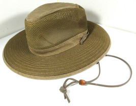 H1H Henschel Breather Safari Mesh Hat Brown Tan Canvas Size Small - $14.80