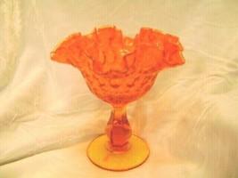 Fenton Orange with Yellow Crest Thumbprint Compote  Pre Logo 1964 - $38.69