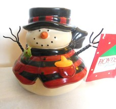 "Mountain Pine Snowman Votive Holder Boyds Collectibles Ceramic and Wire 4"" - $22.40"