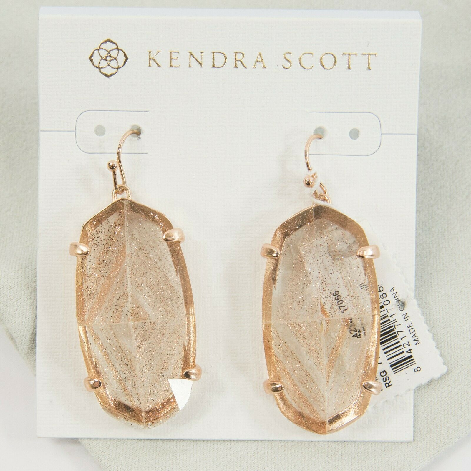 Primary image for Kendra Scott Esme Rose Gold Dusted Glass Drop Dangle Earrings NWT