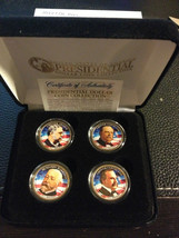 2012 USA MINT COLORIZED PRESIDENTIAL $1 DOLLAR 4 Coins set with box - $21.03