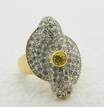 VTG Vanderbilt Jewel Gold Tone Green & White Rhinestone Cluster Ring Siz... - $17.33