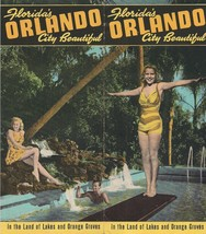 1940s Orlando FL City Beautiful Brochure Poster Land of Lakes and Orange... - $29.69