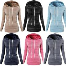 Fall Women 's Fashion Long Sleeve Striped Hoodies Hooded Sweateshirt
