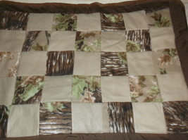 handcrafted quilt camo brown tan fleece 32 x 43 lap baby toddler wheelchair - $40.00