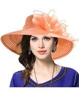 VECRY Women's Dressy Church Baptism Wedding Derby Hat Orange - $26.81