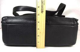 Fossil Vintage Black Leather Multi Pocket Shoulder Bag Brass Tone Hardware image 10