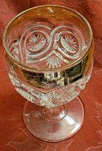 "Antique Goblet Glass Gold Trim EAPG Star in Bullseye Water Pressed 5 3/4"" image 4"