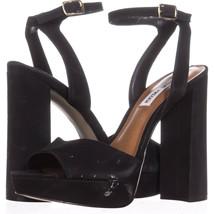 Steve Madden Brrit Platform Ankle Strap Sandals 354, Black, 9 US - $30.71