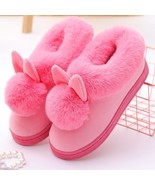 Rabbit Ears Women Home Slippers Cartoon Lovely Slip On Thick Soled Winter Warm H - £18.07 GBP