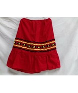 Native American Red Mickey Mouse Ribbon Skirt Large XL Women Stomp Dance... - $45.00