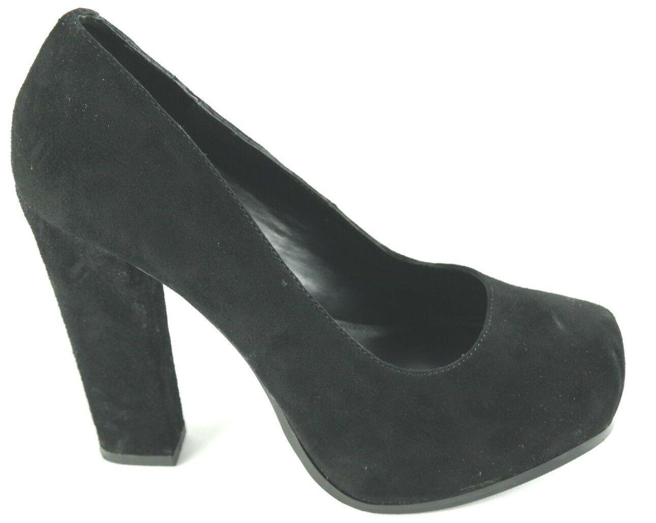 Steve Madden Sarrina Platform Pumps Womens Sz 7.5 Black Suede High Heel Shoes