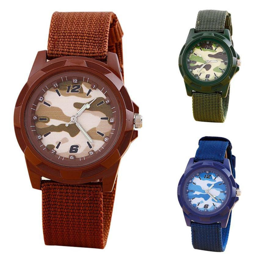 Children's Watches Boy knit Army - clock Gift PU Leather Quartz, used for sale  USA