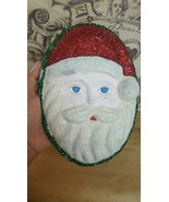 "Christmas xmas vintage SILVESTRI RETRO SANTA FACE ORNAMENT 10x6"" Hard PL... - $12.20"