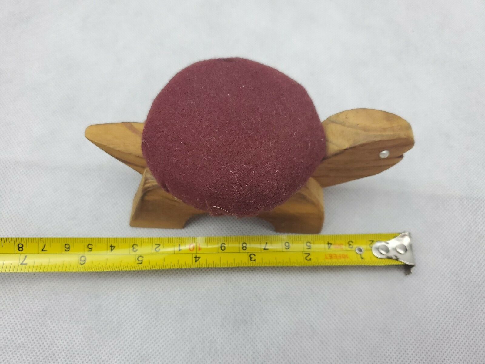 "Vintage Figural TURTLE Sewing Pin Cushion wood maroon 5.5"" image 5"