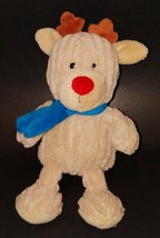 Animal Adventure Tan Reindeer Moose Deer Lovey Plush Blue Scarf Ribbed C... - $15.79