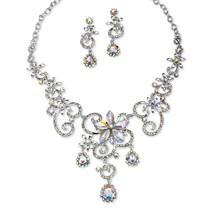 PalmBeach Aurora Borealis Crystal Platinum-Plated Necklace Drop Earrings... - $31.99
