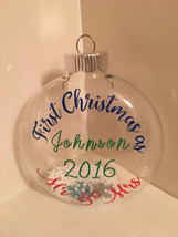 Personalized Christmas ornament, First Christmas as Mr and Mrs ornament,  - $9.99