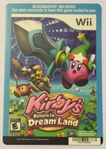 Nintendo Wii Kirby's Retrun To Dream Land Blockbuster Artwork Display Card - $5.00