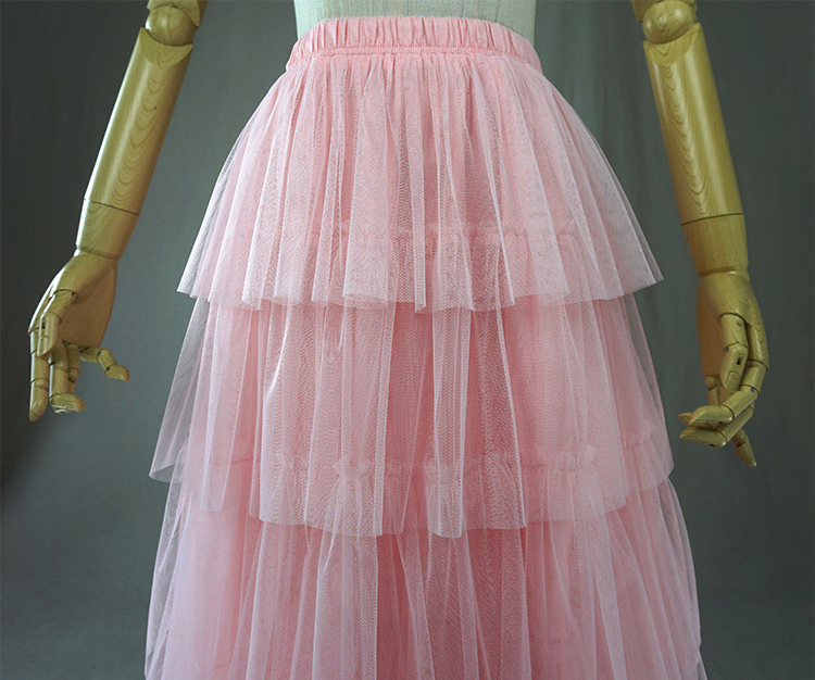 Tiered skirt pink 5