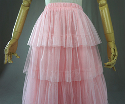 PINK TIERED Tulle Skirt Lady High Waist Tiered Tulle Party Skirt Princess Outfit image 3