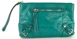 Michael Kors Fallon Zip Clutch Bag Wristlet Aqua Green Crinkled Leather - $185.99
