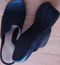 "Rockport Women's Sandal Black Solid Leather Size, US-9M 2-1/2"" Heel Open Toe New - $64.70"