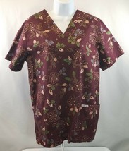 Cherokee Scrub Top Short Sleeve Floral V-Neck, Small - $5.98