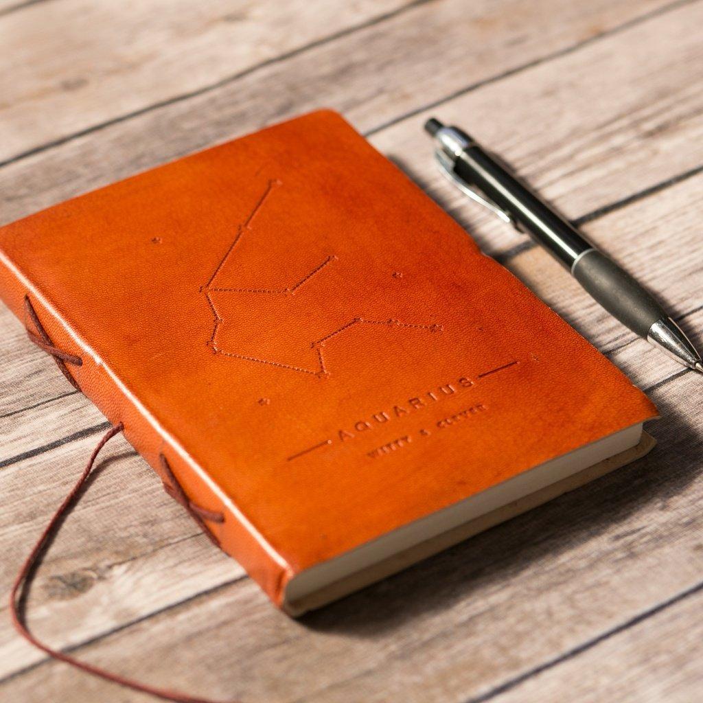 Aquarius Zodiac Handmade Leather Journal