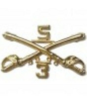 Army 5TH Cavalry 3RD Troop Crossed Sabers Gold Pin - $15.33