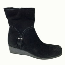 Women's LA CANADIENNE Black Suede Side Zip Low Wedge Ankle Boots 8 M - €57,22 EUR