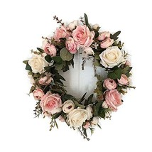 Haperlare Handmade Pink Peony Wreath Floral Artificial Simulation Garlan... - $23.76