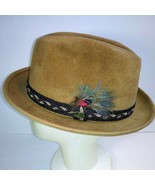 Vintage STETSON SOVEREIGN Fedora Hat Feather pin  Light Brown/Tan 7 1/8 '' - $98.01