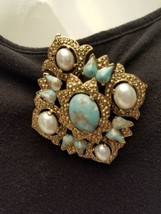 Vintage Sarah Coventry Brooch/pin/pendant Faux Pearls And Turquoise Gold... - $15.84