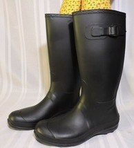 NWOB Kamik Women's Shoes Olivia Tall Rain Boots Black Rubber Size 11 BRA... - $51.73