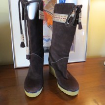 Marc Jacobs Stivali Mid Calf Brown Suede Wedge Boots SZ US 8.5 M EUR 39 Shoes - $39.59