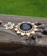Single Earring, Faceted Black Round Center Cabochon, Daisy Flower, Chand... - $7.00