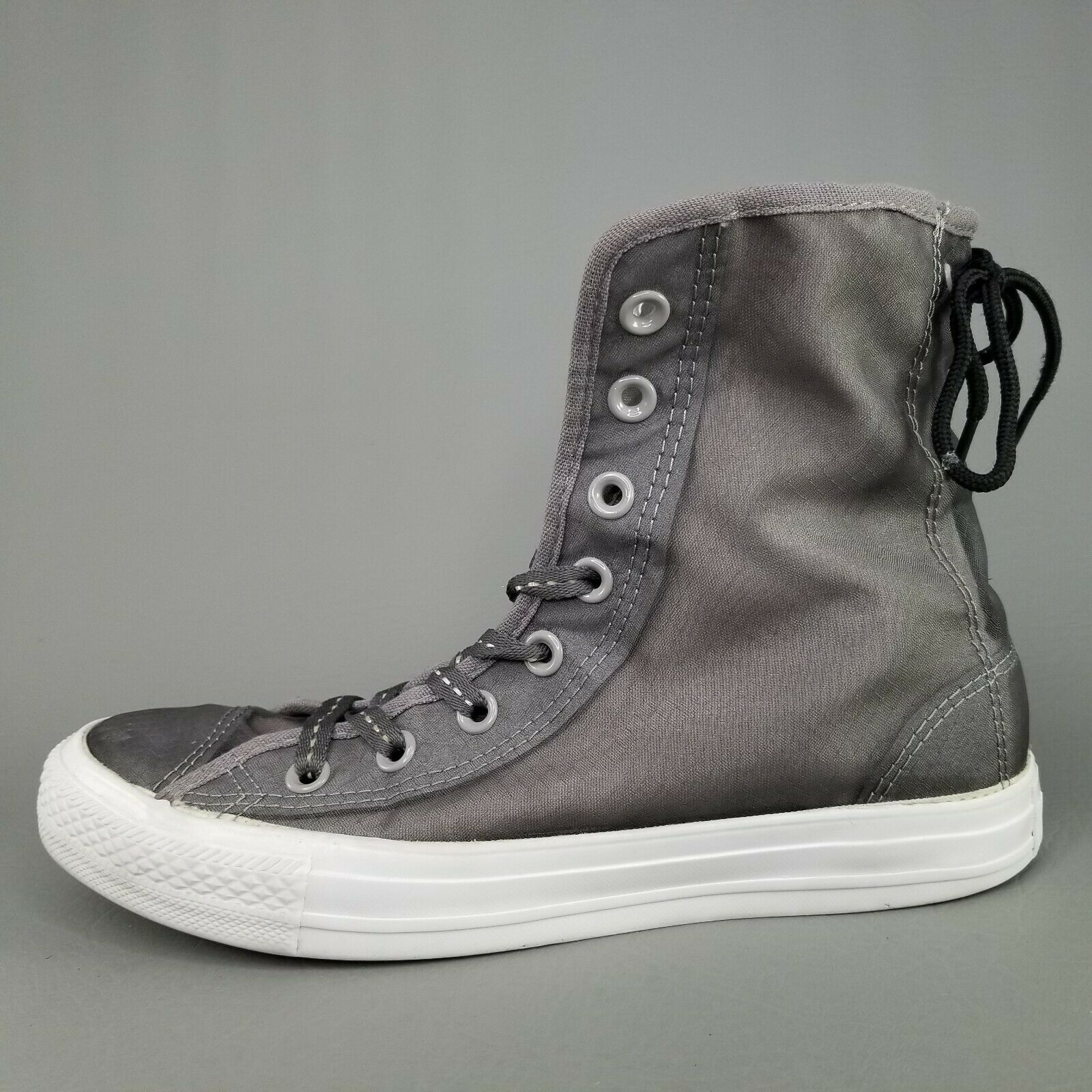 Converse CTAS Back Lace Hi Top Shoes Womens SZ 8 See Through Chucks Gray White image 5