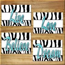 Teal Turquoise Aqua ZEBRA design Wall Art Print Girl Teen Room Love Live Believe - $13.99