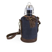 Growler Tote - Navy and Brown W/ Stainless Steel Growler - Matte Black - $67.08