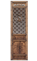 Chinese Vintage Wood Finish People Flower Accent Wall Panel Headboard cs... - $1,890.00