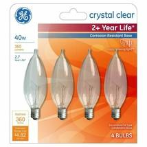 4 GE Lighting Crystal Clear 360 Lumens 40W Incandescent Chandelier Light Bulbs