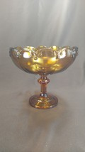 Vintage Large Indiana Glass Amber Colored Compote with scalloped edge - $8.00