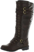 Wild Diva Womens Timberly-65 Lace up Knee High Boots Brown 8.5 BM US - $36.89