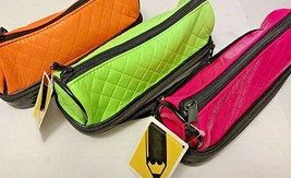 Double Decker Zippered Vinyl Pencil Pouch Set  Neon Pink Green & Orange ... - $20.36