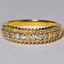 Natural Diamond Her Wedding Band Ring Women 14K Yellow Gold 3 Rows Round... - $699.00