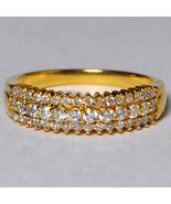 Natural Diamond Her Wedding Band Ring Women 14K Yellow Gold 3 Rows Round... - $699.00